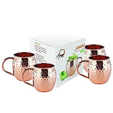 Set of 4 Moscow Mule Mug - 100% Pure Solid Copper Mugs, 16 oz Unlined, No Nickel Interior, Handcrafted Hammered Copper Cups, Free Recipe E Book