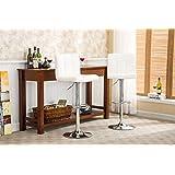 Roundhill Swivel White Leather Adjustable Hydraulic Bar Stool, Set of 2