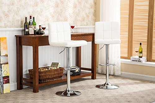 Roundhill Swivel PU Leather Adjustable Hydraulic Bar Stool, White, Set of 2 (Chrome Wide Bar Stool)
