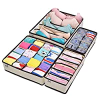 MIU COLOR Drawer Organizer, Closet Organizer Bra Underwear Drawer Divider 4 S...