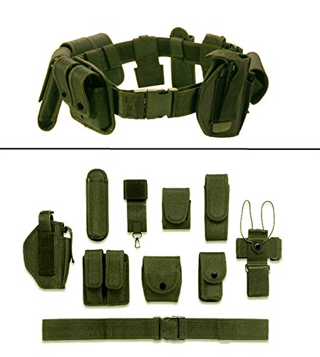 Ultimate Arms Gear OD Olive Drab Green 10pc Police-Law Enforcement-Security Gear Modular Nylon Duty Belt With Pistol/Gun Holster Fits Glock Handgun