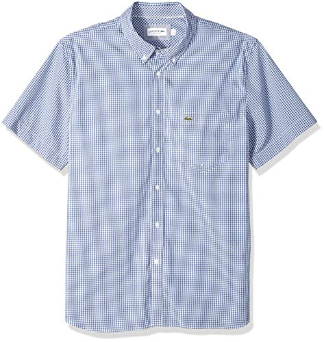 - Lacoste Men's Short Sleeve Regular Fit Gingham Poplin Button Down, Iodine/White, Large