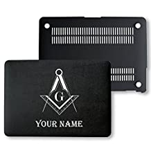 MacBook Pro Retina 13 Case, PU Leather Black Hard Shell Snap On Case Cover Only Fits on MacBook 13 inch Pro Retina Display (A1502 & A1425) (Freemason Custom Name)