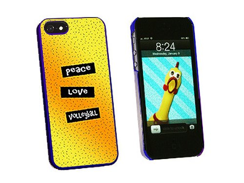 Graphics and More Peace Love Volleyball Snap-On Hard Protective Case for iPhone 5/5s - Non-Retail Packaging - Blue - Iphone5s Volleyball Cases