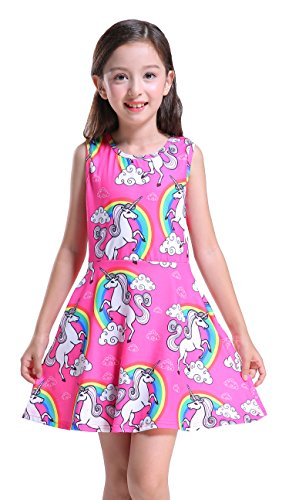 Printed Sleeveless Dress - Girl's Unicorn Dress, Cute Floral Printed Dress Sleeveless A-line Swing Party Dress with Pockets,S