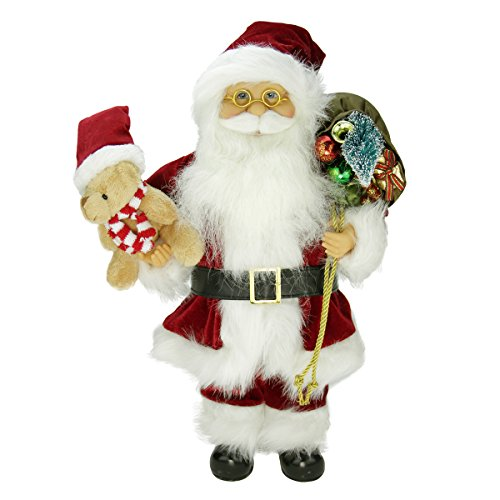 """Northlight 16"""" Traditional Standing Santa Claus Christmas Figure with Teddy Bear and Gift Bag"""