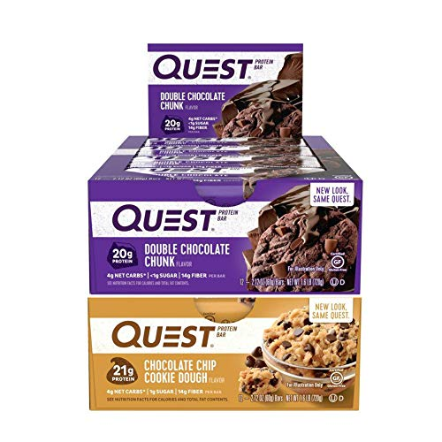 Cookie Bar Meal Chocolate - Quest Nutrition Protein Bar Double Down Mix-Up (Double Chocolate Chip + Chocolate Chip Cookie Dough). Low Carb Meal Replacement Bar w/ 20g+ Protein. High Fiber, Soy-Free, Gluten-Free (24 Count)