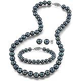 "14K Gold 6.5-7.0mm Black Akoya Cultured Pearl Necklace, Bracelet & Earrings Set, 18"" - AA+ Quality"