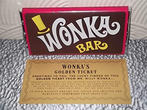 WONKA CHOCOLATE BAR + GOLD TICKET (BEST ON AMAZON) (Willy Wonka Chocolate Candy Bar)