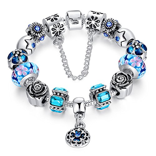Murano Crystal Pendant (A TE Charm Bracelet Crystal & Murano Glass Beads with Flower Pendant for Teen Girl Women B109 (Blue))