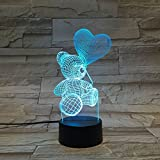 LE3D 3D Optical Illusion Desk Lamp/3D Optical Illusion Night Light, 7 Color LED 3D Lamp, Teddy and Balloon 3D LED For Kids and Adults, Teddy Bear and Balloon Light Up