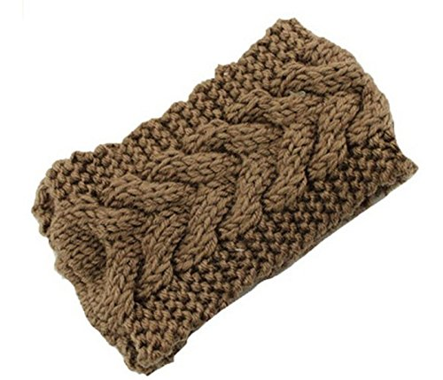 JUST MODEL Women's Warm Hat Skiing Cap Knitted Empty Skull Beanie Headband Khaki