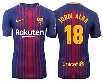 Camiseta hombre FC Barcelona 2017 - 2018 Home - Jordi Alba 18  Amazon.es   Deportes y aire libre 1a2da81ba82