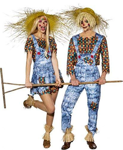 Couples Mens and Ladies Harvest Festival Scarecrow His & Hers Halloween TV Book Film Fancy Dress Costume Outfits (UK 6-8 (EU34/36) + Mens Large (EU50/52)) ()