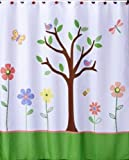 Butterfly Park Tree and Flower Fabric Bathroom Shower Curtain