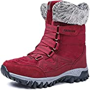 Womens Snow Boots Winter Fur Lined Warm Lightweight Ankle Boots Outdoor Anti-Slip Shoes Lace up Walking Causal
