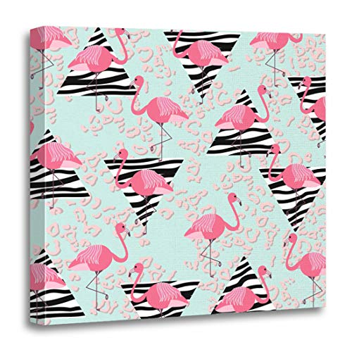 Semtomn Canvas Wall Art Print Summer Pattern Pink Flamingos Zebra Triangles and Leopard Abstract Artwork for Home Decor 16 x 16 Inches