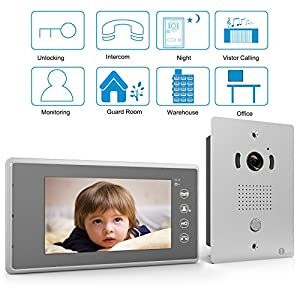 """[Upgrade Version]1byone 7"""" Color LCD Touch Screen Wired Video Doorbell, 2 Monitors 1 Camera With Video Recording and PhotoTaking Function, 120° Wide-Angle VP-0689"""
