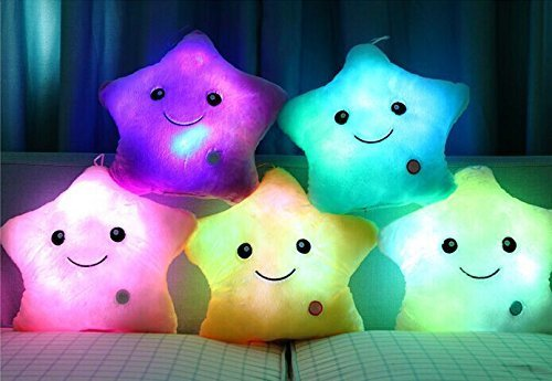 Beautiful Bling Cute Glowing Colorful Luminous LED Star Plush Pillow Stuffed Toys (White)