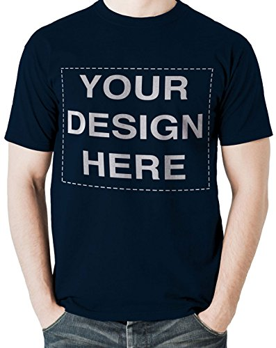 Custom Tshirts Design Your Own Text Image Adult Unisex T-Shirt (XX-Large, Navy) -