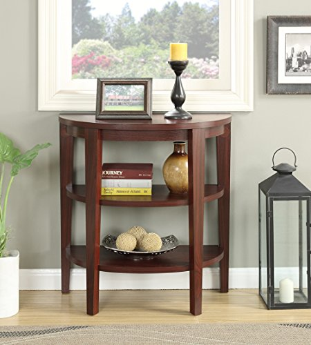 Convenience Concepts Newport 3 Shelf Console, (Mahogany Finish Console Table)