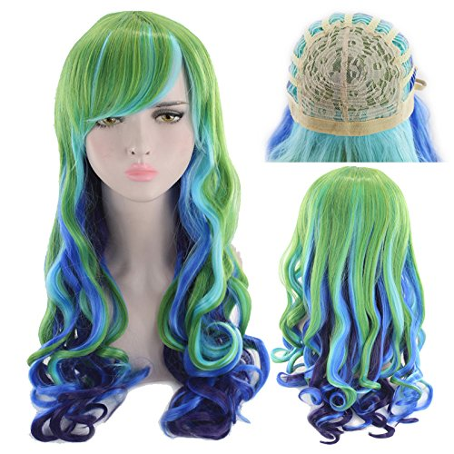 27.56'' Long Multicolor Big Wavy Ombre Spring Bouquet Cosplay Wig For Women Harajuku Style Lolita Spiral Colorful Fiber Synthetic Halloween Wig ()