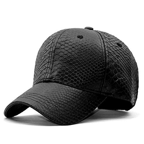 (LOCOMO Men Women PU Synthetic Leather Cap Snakeskin Pattern Snapback FFH377BLK)