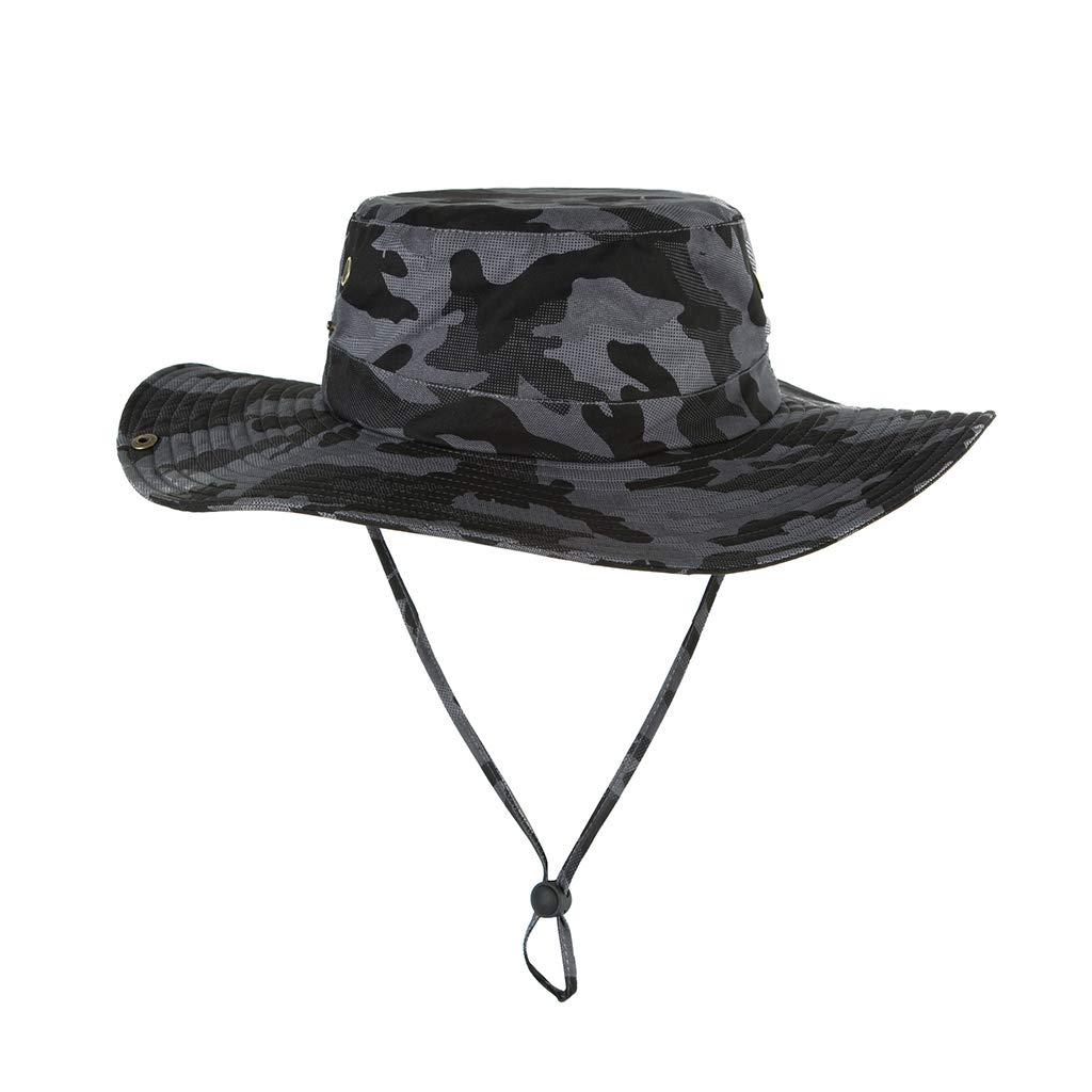 CARRYKT Uomo Donna Estate Outdoor Protezione Solare Cappello Benna Larga Brim Camouflage Stampa Cowboy Pieghevole Escursionismo cap Pesca con Cinturino