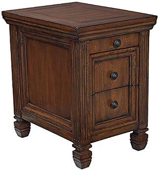 Hidden Treasures Chairside Table-Medium Wood Finish