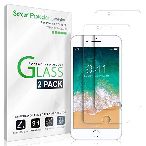 "iPhone 8, 7, 6S, 6 Screen Protector Glass, amFilm Tempered Glass Screen Protector for Apple iPhone 8, 7, iPhone 6S, iPhone 6 [4.7"" inch] 2017 2016, 2015 (2-Pack)"