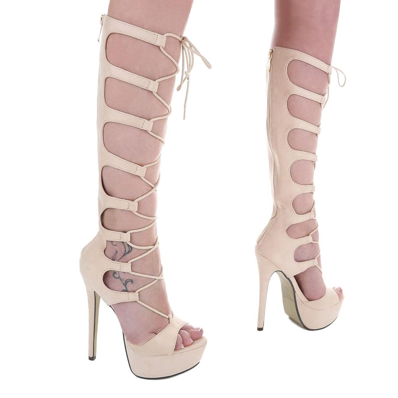 Ital-Design High Heel Sandaletten Damen-Schuhe High Heel Sandaletten Pfennig-/Stilettoabsatz High Heels Reißverschluss Sandalen & Sandaletten Beige, Gr 38, Xk-0045-