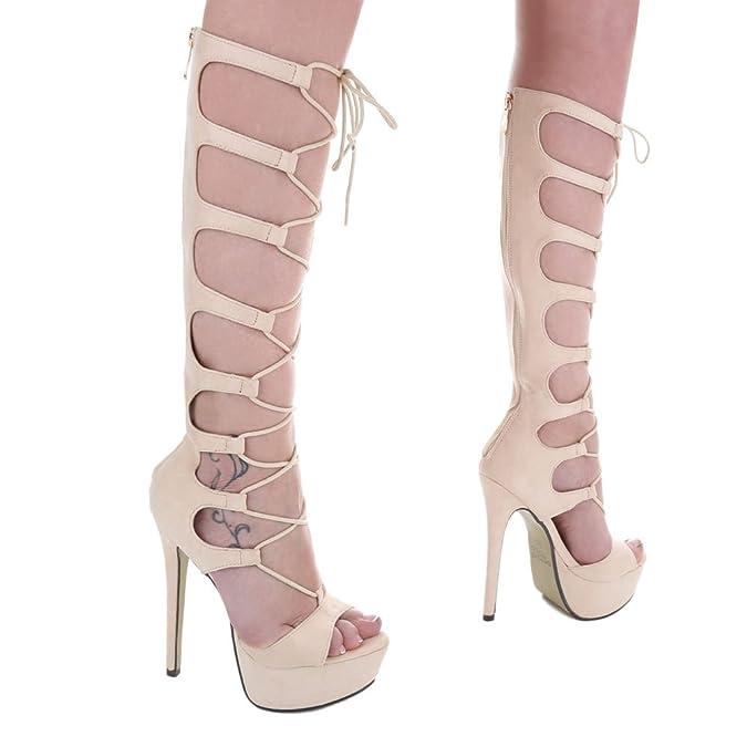 Ital-Design High Heel Sandaletten Damen-Schuhe High Heel Sandaletten Pfennig-/Stilettoabsatz High Heels Reißverschluss Sandalen & Sandaletten Schwarz, Gr 41, Xk-0045-