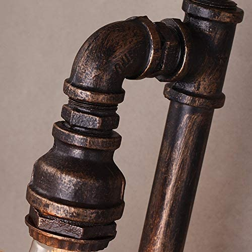 Retro Industrie Doppelkopf Wasserrohr Wandleuchte Dekorative Wandleuchte E27 Vintage Leuchte Steampunk Antik Eisen Wandlaterne (Größe: 45 * 17cm)