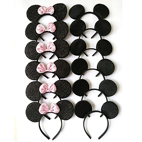 CHuangQi Hair Accessories Mickey Mouse Ears Solid Black and Pink Sequins Bow Minnie Headbands,Boys & Girls Headwear for Birthday Party or Celebrations (Set of