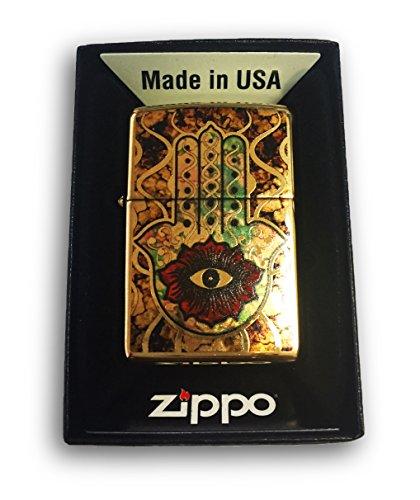 Zippo Custom Lighter - Fuzion Hamsa Hand OF FATIMA - Brush Brass