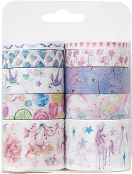 10 unids/pack Washi cintas adhesivas de dibujos animados pegatinas decorativas cintas de papel pegajosas para Scrapbook DIY diario envoltura de regalos (Unicornio): Amazon.es: Oficina y papelería