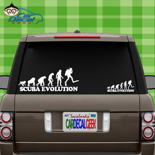 Scuba Evolution Vinyl Decal Sticker for Car Truck Window Laptop MacBook Wall Cooler Tumbler   Die-Cut/No Background   Multiple Sizes and Colors, 8-Inch, Red