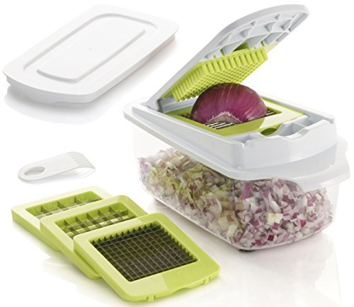 Brieftons QuickPush Food Chopper: Strongest & 200% More Container Capacity, 30% Heavier Duty, Onion Chopper, Kitchen Vegetable Dicer, Fruit and Cheese Cutter, with 3 Dicing Blades & Keep-Fresh ()
