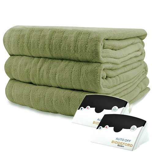 Pure Warmth Microplush Heated Electric Blanket Queen Sage Gr