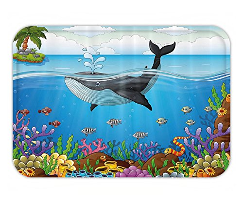 Beshowere Doormat Whale Decor A massive Whale the Master of the OceanThemed Around Planet Dark Blue Black and - Blue Planet Angeles Los