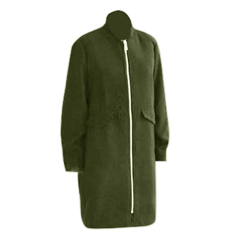 Nadition Women Coat,Fall Winter Long Sleeve Baseball Coat Casual Solid Zipper Trench Jacket Loose Plus Overcoat