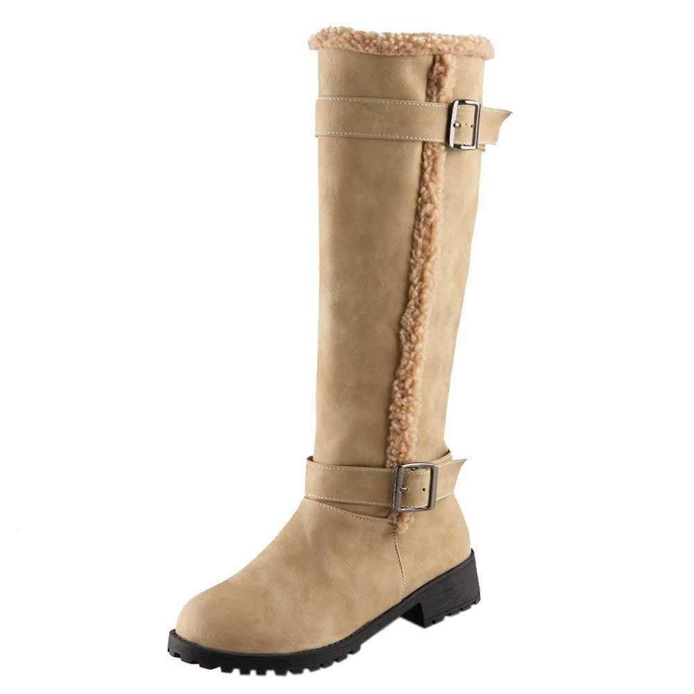 Femme Hautes Bottes De Neige Hiver Le Genou Chaussures CompenséEs en Daim Platform Chaud Talon Plate Boucle De Ceinturesexy Court Boots