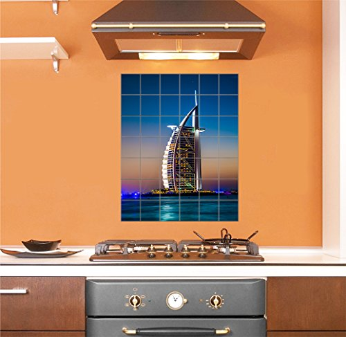 Burj Al Arab Is Luxury Stars Hotel Vertical Tile Mural Satin Finish 42''Hx36''W 6 Inch Tile by Style in Print (Image #1)