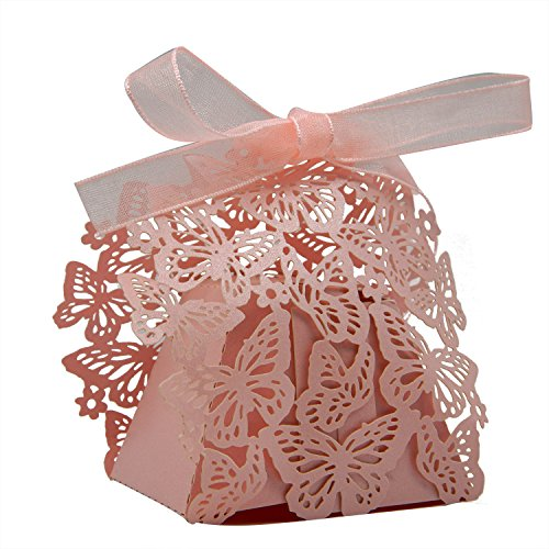KEIVA 70 Pack Laser Cut Butterfly Wedding Party Favor Box Candy Bag Chocolate Gift Boxes Bridal Birthday Shower Bomboniere with Ribbons (Pink)