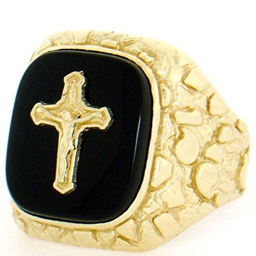 14k Gold Mens Onyx Cross - 14k Gold Nugget Onyx Cross Crucifix Jesus Mens Ring
