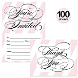 All Occasion Invitations & Matching Thank You Cards Set ( 100 of Each ) with Envelopes Classic Pink Stripes & Elegant Script Fill-in Invites & Thank You Notes Perfect for Large Event Best Value Pair