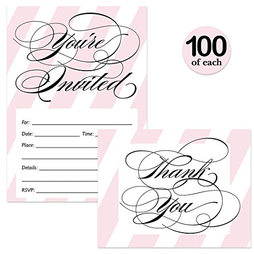 All Occasion Invitations & Matching Thank You Cards Set ( 100 of Each ) with Envelopes Classic Pink Stripes & Elegant Script Fill-in Invites & Thank You Notes Perfect for Large Event Best Value Pair by Digibuddha