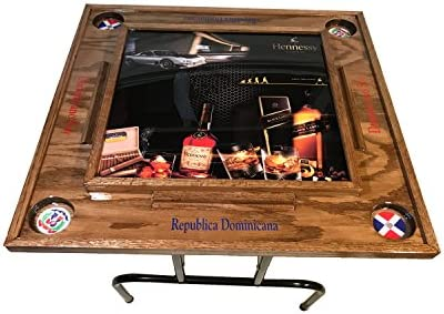 Fiesta Domino Table with the Dominican Republic flag-dark wall nut