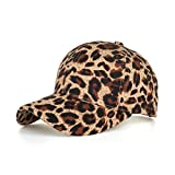 Lefthigh Leopard Baseball Cap, Unisex Classic Cotton Sports Sun Hat Adjustable Plain Caps Coffee