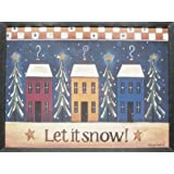 Rustic Framed Americana Let It Snow Village Print Hand Made in Ohio